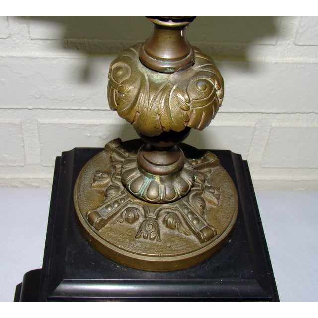 Huge Antique Victorian Neoclassical Bronze & Marble Candelabras - a Pair - Image 9 of 11