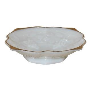 Anchor Hocking Gold Trim Milk Glass Grape Pattern Bowl For Sale