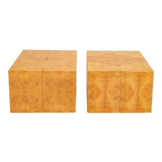 Pair of Burl Wood Side Tables or Blanket Chests For Sale