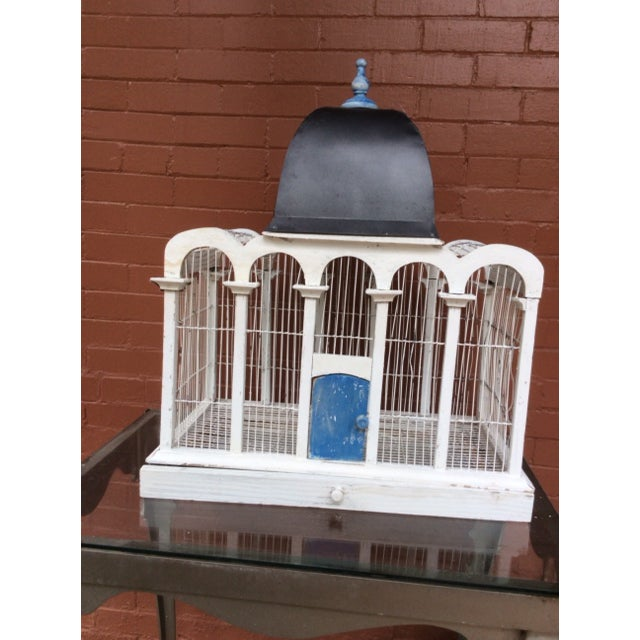 Hand made in the 1930's ...bird cage made after being in Greece by a Dutch Merchant seaman. Would be great for plants too...