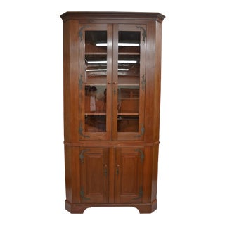 Massive Cherrywood Glazed Corner Cupboard For Sale