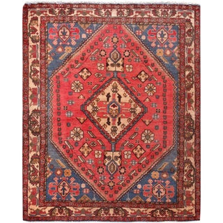 """Pasargad Vintage Shiraz Red Wool Area Rug- 5' 2"""" X 6' 4"""" For Sale"""