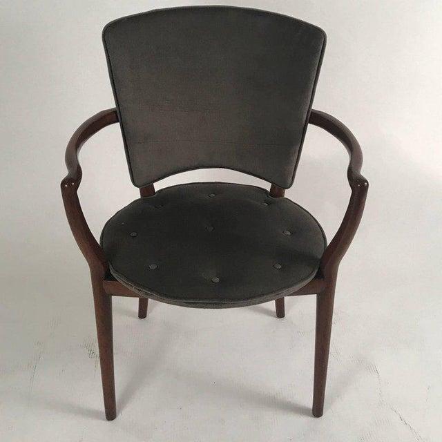 Widdicomb Bert England for Widdicomb Desk/ Armchair in Grey Velvet With Tufting For Sale - Image 4 of 12