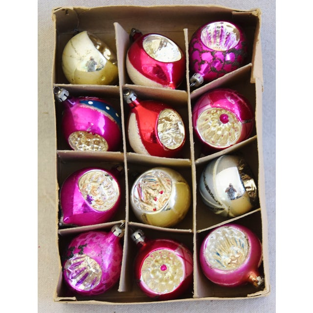 Adirondack Pink & Red Vintage Colorful Christmas Tree Ornaments W/Box - Set of 12 For Sale - Image 3 of 10