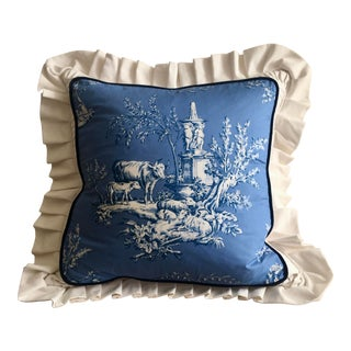 Blue and White Pastoral Toile Pillow For Sale