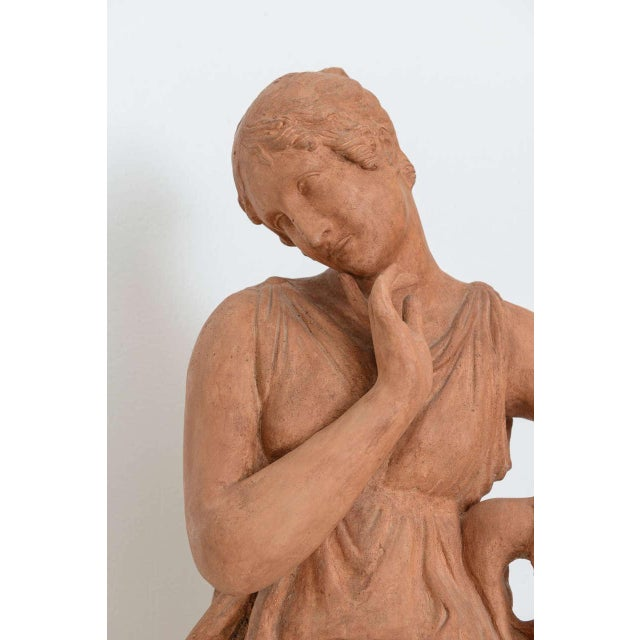 Orange Neoclassical Greco-Roman Terracotta Garden Sculpture, France, 19th Century For Sale - Image 8 of 11