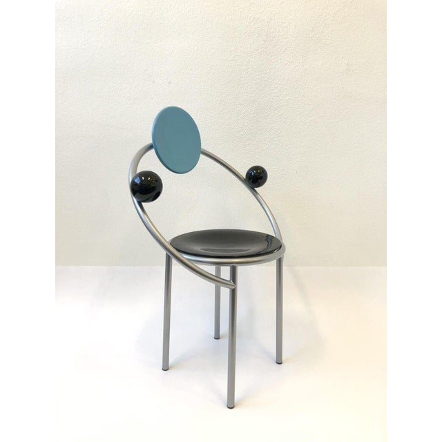 Set of Six Italian Memphis Dining Chairs by Michele De Lucchi For Sale In Palm Springs - Image 6 of 11