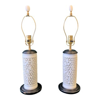 Modern Blanc De Chine Reticulated Porcelain Lamps - a Pair For Sale