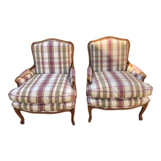 Vintage French Provincial Bergere Chairs- a Pair For Sale