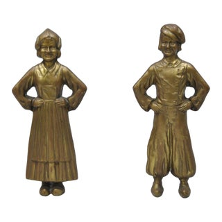 Antique Sheffield Dutch Boy & Girl Bronze & Cast Iron Andirons - a Pair