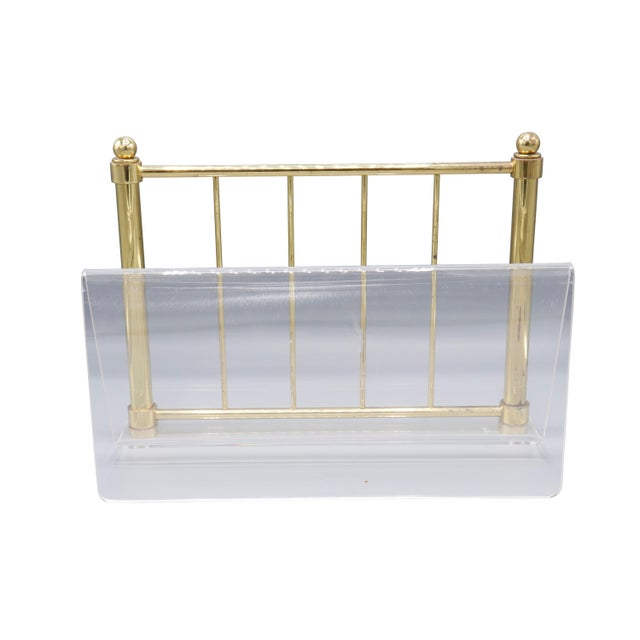 1980s Hollywood Regency Mid Century Brass and Lucite Magazine Rack For Sale - Image 4 of 8
