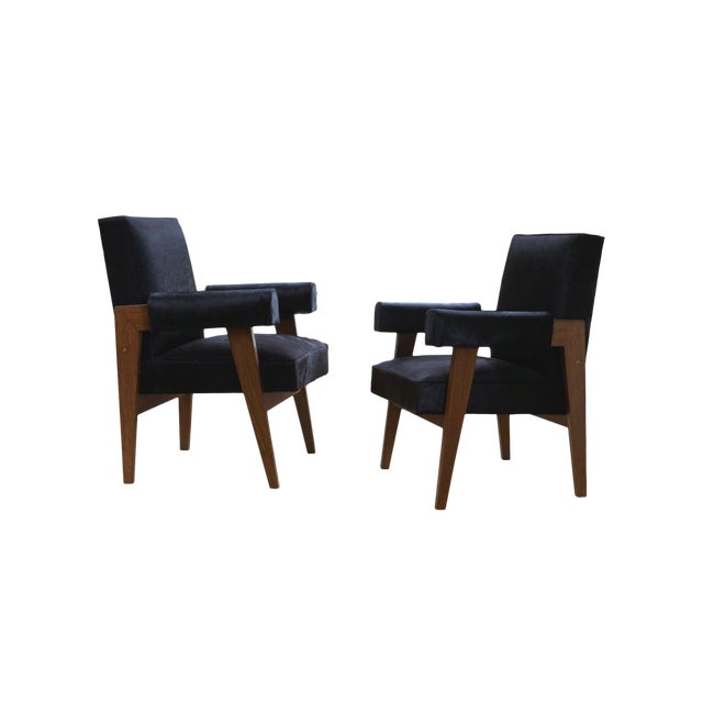 """""""Advocate & Press"""" Bridge Style Lounge Chairs Upholstered in Brazilian Cowhide- a Pair For Sale"""
