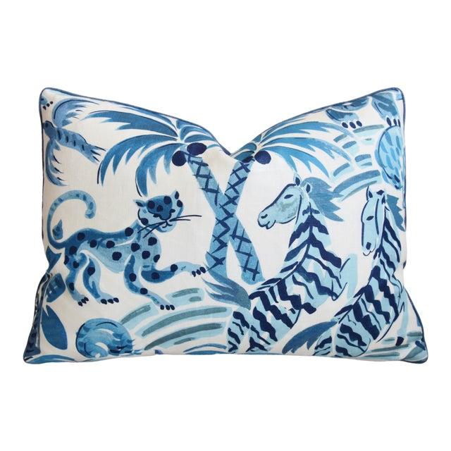 "P. Kaufmann Blue & White Animal Feather/Down Pillow 22"" X 16"" For Sale"