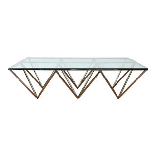 Vintage Chrome and Glass Geometric Coffee Table For Sale