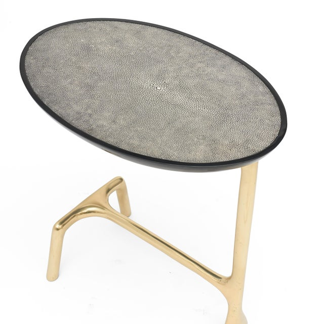 2010s Uovo Side Table (Shagreen & Brass ) by Sylvan San Francisco For Sale - Image 5 of 8