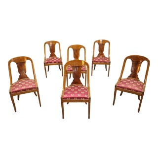 Set of 6 French 1940s Vintage Art Deco Gondola Dining Chairs For Sale