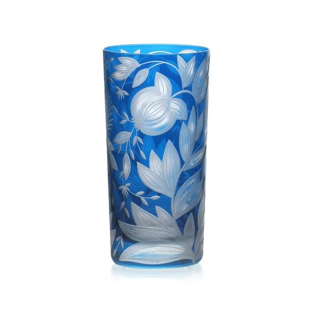 Traditional Verdure Highball Glasses, Set of 6, Azure For Sale - Image 3 of 4