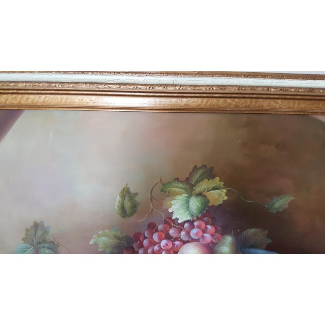 Large Still Life Oil Painting on Canvas Signed M. Aaron For Sale - Image 6 of 8