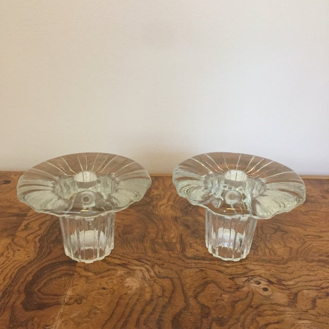 "Transparent Pair of Arkipelago Glass ""Bolero"" Candle Holders by Timo Sarpaneva for Iittala For Sale - Image 8 of 11"