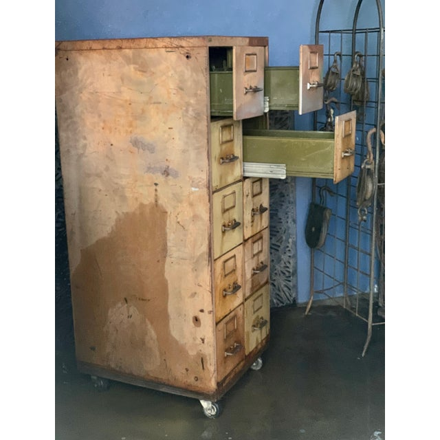 Vintage Industrial Rolling 10-Drawer Metal File Cabinet For Sale - Image 4 of 6