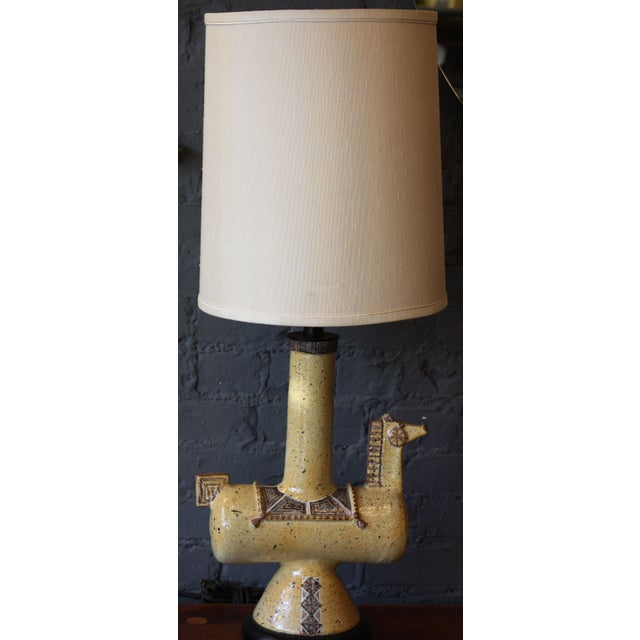 This is an unique, ceramic horse lamp, reminiscent of Gambone's work in both color, form, and style. The shade is not...