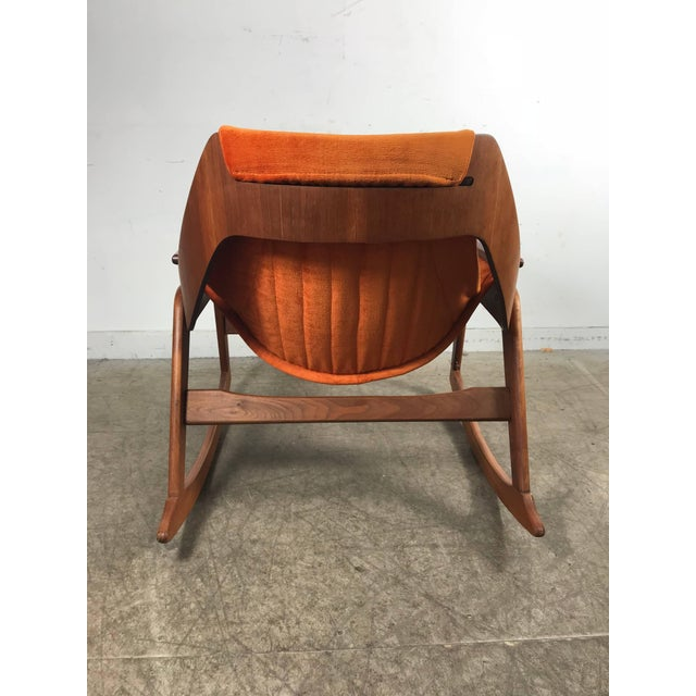 Jerry Johnson Rare Jerry Johnson Midcentury Walnut Sling Rocking Chair 1960s For Sale - Image 4 of 9