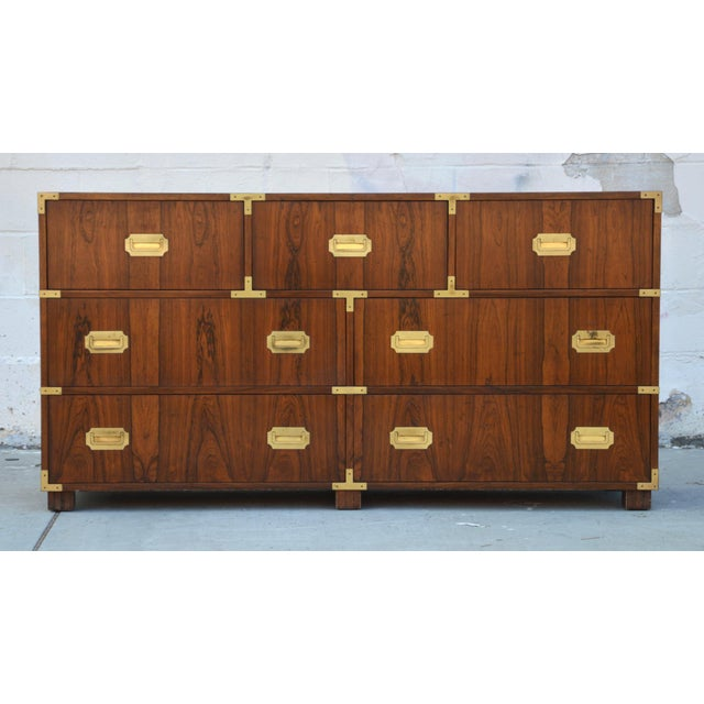Baker Furniture Company Pair of Walnut Baker Chests of Drawers For Sale - Image 4 of 13