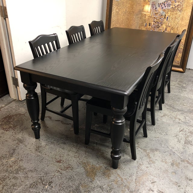 Contemporary Pottery Barn Francisco Black Table & Six Chairs - Dining Set For Sale - Image 3 of 8
