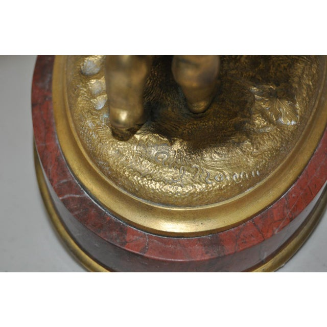 Auguste Moreau Bronze & Marble French Mantle Clock 19th Century For Sale - Image 10 of 10
