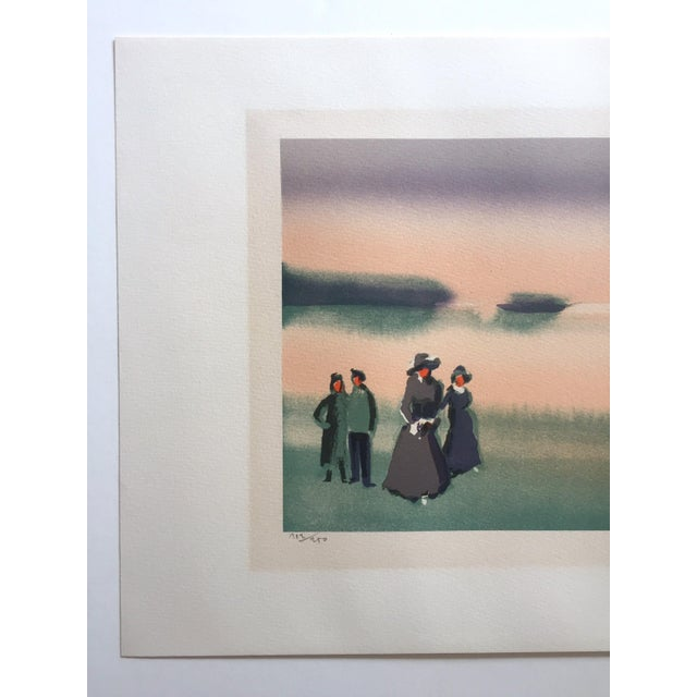 "Figurative Vintage Mid-Century Thomas Kruger Limited Edition Signed Lithograph Print "" the Beach "" For Sale - Image 3 of 12"