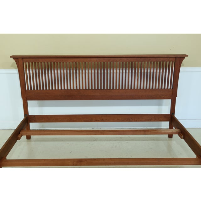 Item: 50123EC: STICKLEY King Size Mission Cherry Spindle Bed Age: C.1995 Details: Finish No. 703 High Quality Construction...