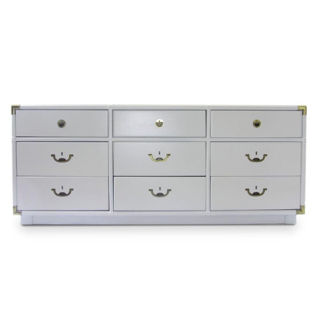 1970s Vintage Drexel Campaign Dresser Lacquered in White For Sale - Image 5 of 5