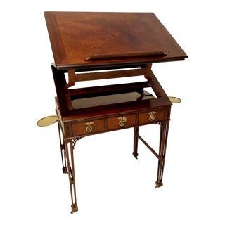 Vintage Chinese Chippendale Carved Mahogany Architects Table Desk Baker Stately Homes For Sale