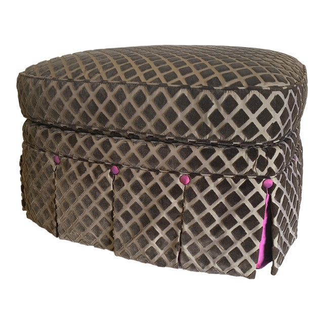 Chocolate Laser Cut Velvet and Pink Satin Ottoman For Sale