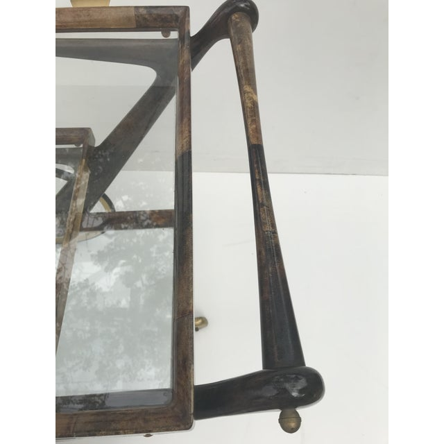 Animal Skin Aldo Tura Goatskin and Lacquer Bar Cart For Sale - Image 7 of 9