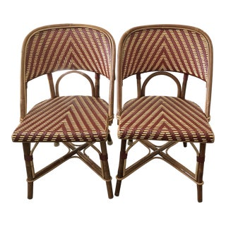 French Wood & Wicker Bistro Chairs - A Pair For Sale