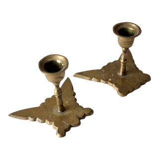 Vintage Brass Butterfly Candle Holders - a Pair For Sale