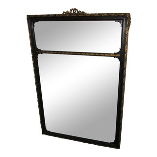 1940's Vintage Black and Gold Trumeau Mirror For Sale