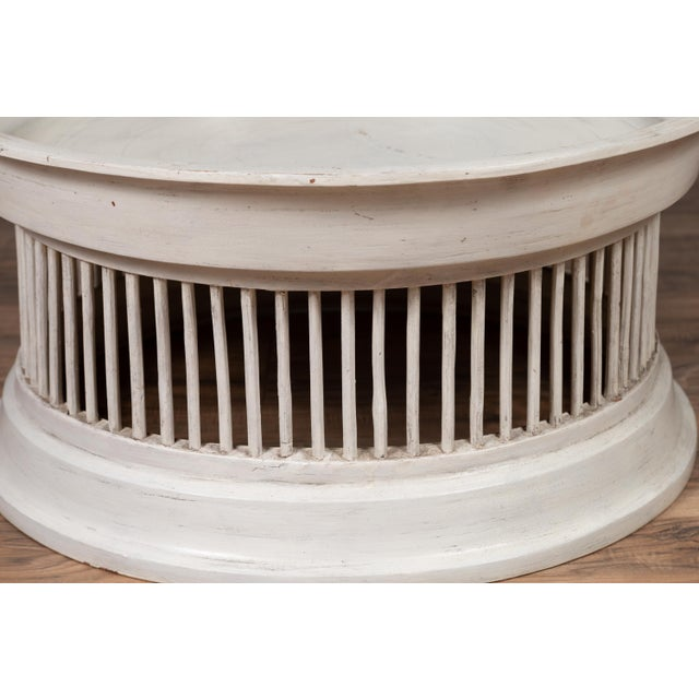 Contemporary Thai Off-White Rattan Drum Design Coffee Table with Spindle Motifs For Sale - Image 10 of 13