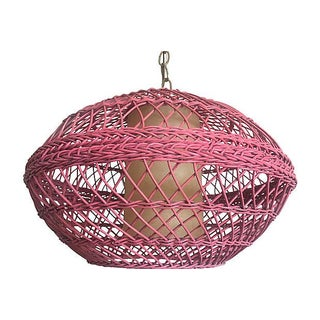 1960s Pink Wicker Pendant Preview