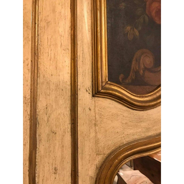 White French Antique Painted And Parcel Gilt Trumeau or Over The Mantel Wall Mirror For Sale - Image 8 of 12