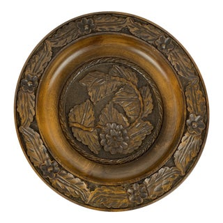 English Carved Wood Bowl For Sale