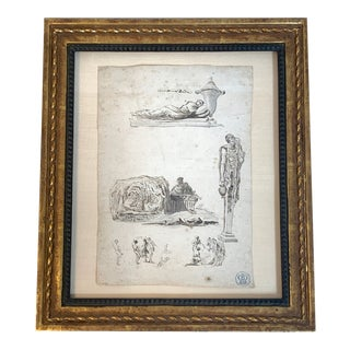 """18th Century Framed Jean Barbault Etching: """"Studies After the Antique"""" For Sale"""