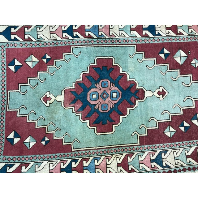 Antique Turkish Anatolian Aztec Decorative Hand Rug - 4′4″ × 6′7″ For Sale - Image 10 of 11