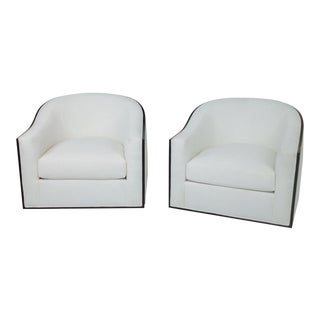 Modern Mid Century Style Swivel Lounge Chairs- A Pair For Sale