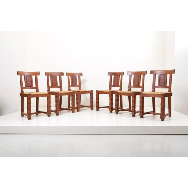 1930s Set of Six Wooden Chairs by Jacques Mottheau, France, 1930s For Sale - Image 5 of 13