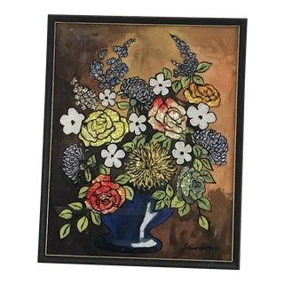1960s Mid-Century Flowers Foil Art Painting For Sale