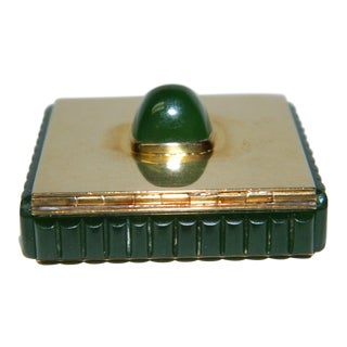 1920s Antique Cartier 14kt Gold & Jade Box For Sale