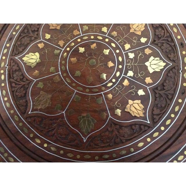 Vintage Carved Wood Brass & Copper Inlaid Pedestal Table For Sale - Image 5 of 8