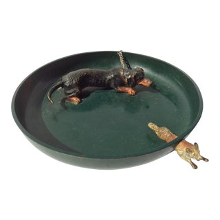 Vienna Bronze Dog & Fox Chase Green Tray For Sale